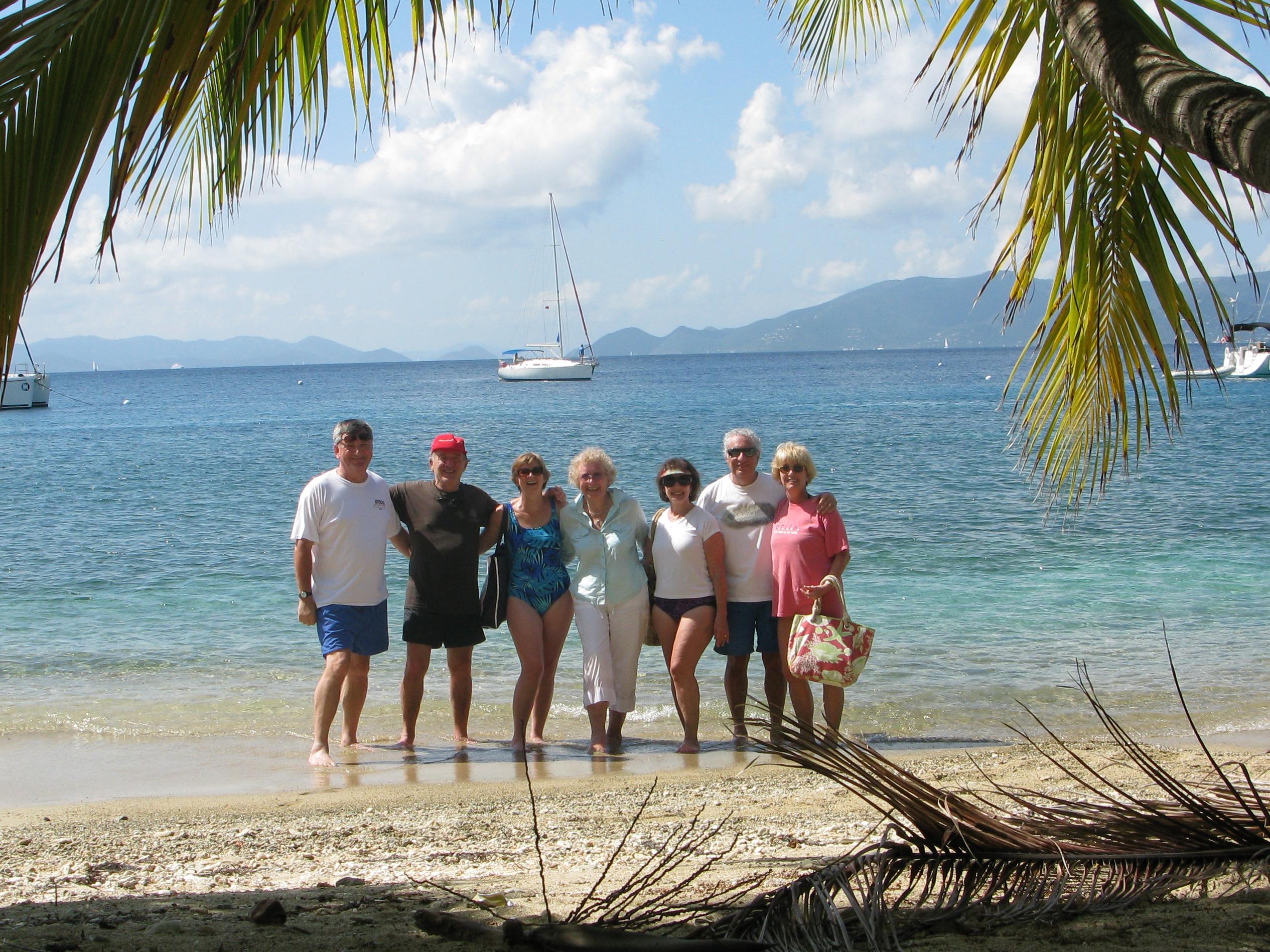 The crew, enjoying Cooper Island